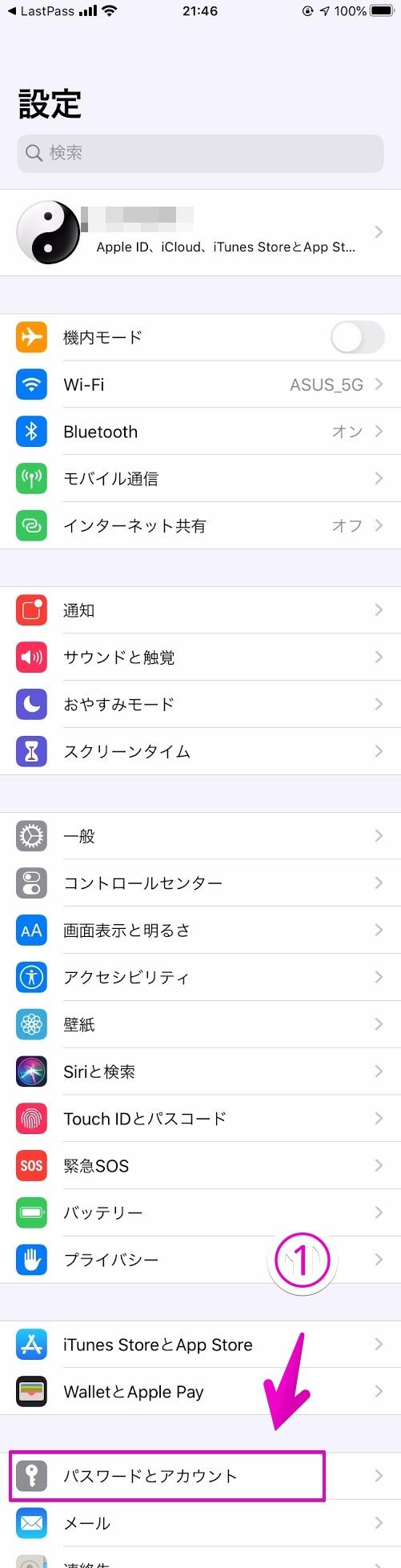 iPhoneの「設定」-「パスワードとアカウント」